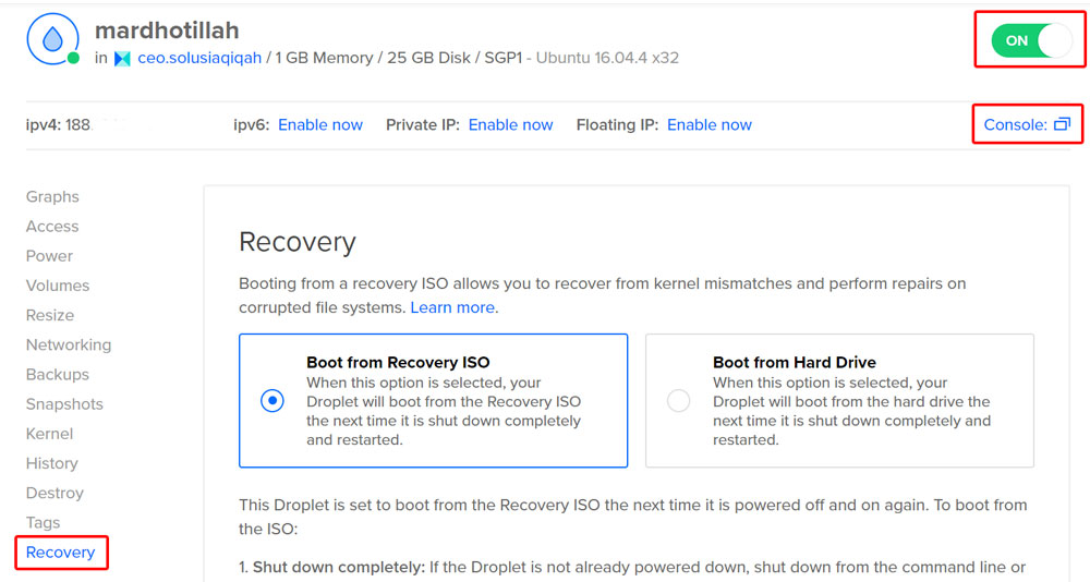 Boot from recovery ISO